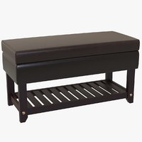 Leather Bench With Storage + Shoe Rack