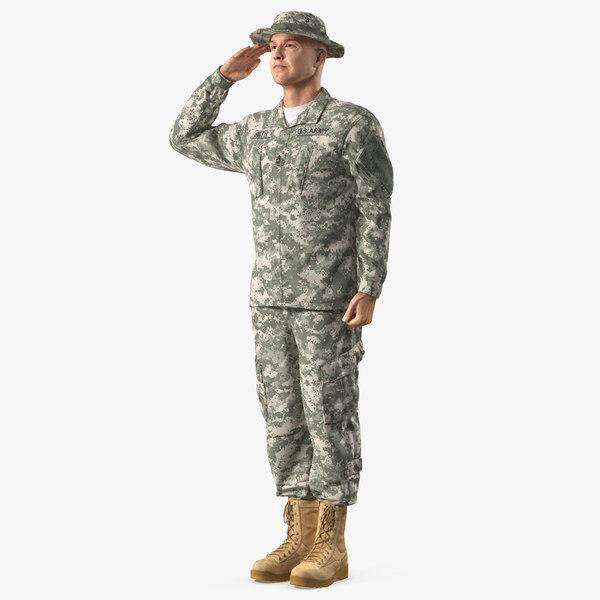 3D acu soldier saluting pose