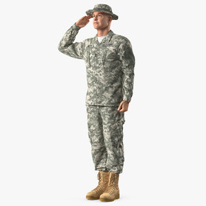 3D acu soldier saluting pose