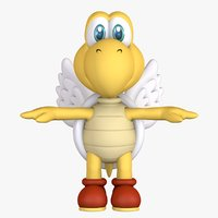 Red Turtle Koopa Troopa Fly Super Mario Assets 3D model