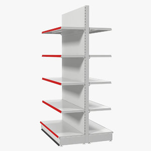 store double-sided supermarket rack 3D model