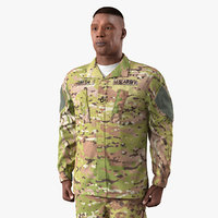 soldier standing attention camouflage 3D model