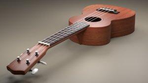 3D ukulele instrument model