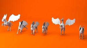 6 unicorn pegasus 3D model