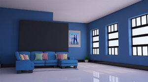 3D sofa glossy interior room