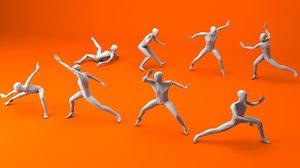 3D kung fu martial artists model