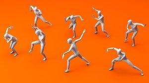 3D model kung fu martial artists