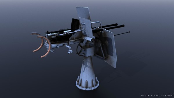 flak 38 anti-aircraft gun 3D model