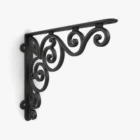 iron shelf bracket 06 3D model