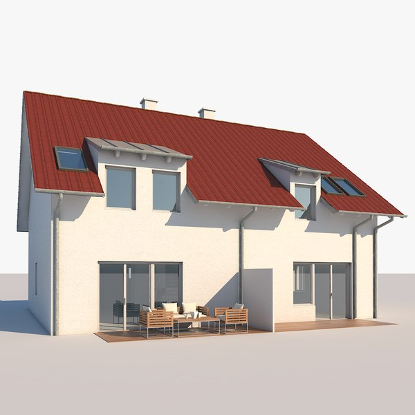 3D contemporary house model