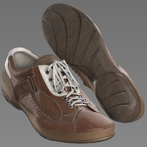 3D shoes brown leather model