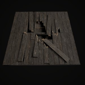old wooden floor set model