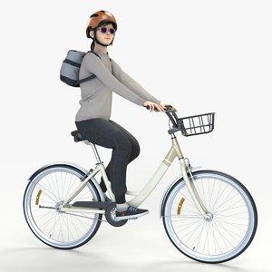 woman riding bike helmet 3D