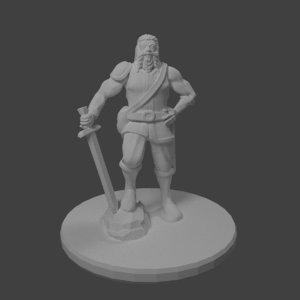 dnd miniature dwarf warrior 3D