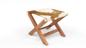 3D model curator hide stool table