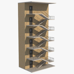 3D model emergency exit stairs 1