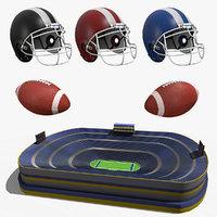 american football stadium pack 3D model