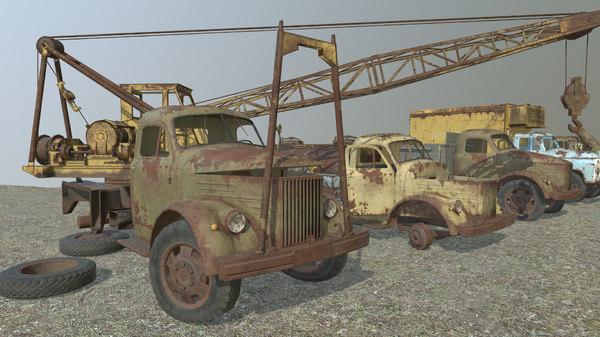 3D cars gaz-51 gaz-52 truck crane model
