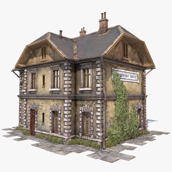 3D old house station model
