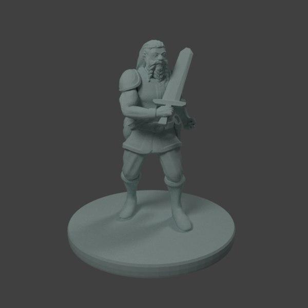 dnd miniature dwarf warrior model
