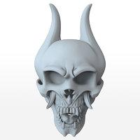3D demon skull print model