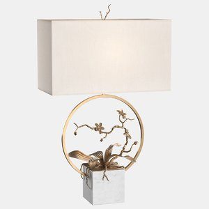 3D table lamp brass orchids