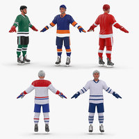 Generic Hockey Players 3D Models Collection