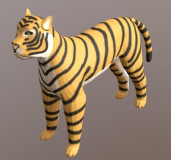 3D tiger type cartoon