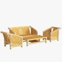 bamboo set furniture design 3D model