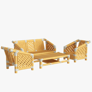 bamboo set furniture design 3D model