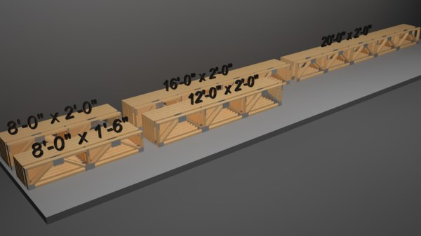 3D model wooden trusses warren style