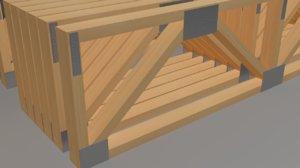 3D model wooden trusses warren style