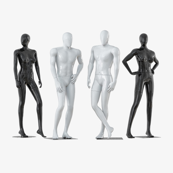 3D faceless mannequins male female