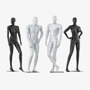 3D faceless mannequins male female