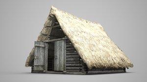 3D ancient building thatched