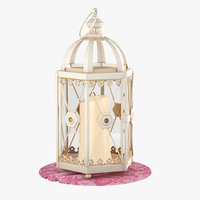 3D small rustic lantern candle lighting