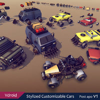 cars customizable 3D model