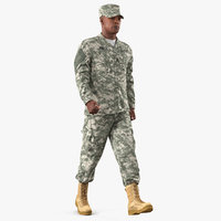 US Army Soldier Marching Fur 3D Model