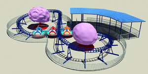 family roller coater ride 3D model