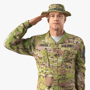 army camo soldier saluting 3D model