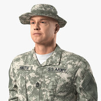combative soldier standing attention 3D model