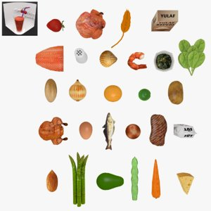 fruits nuts nutritions pack 3D
