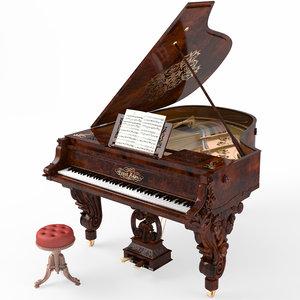 3D model grand piano baroque