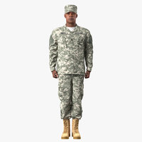 3D african american soldier standing