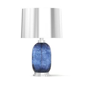 metal table lamp blue glass 3D model