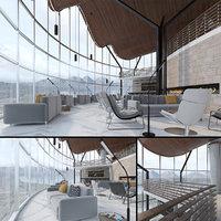 3D hotel lounge bar restaurant model