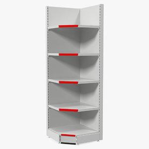 3D model supermarket corner shelving