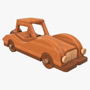 car wooden retro 3D