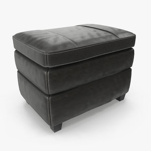 3D leather ottoman cushion model