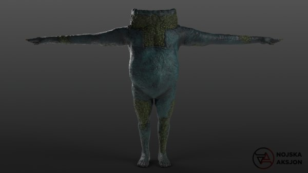 3D clawed frogman model